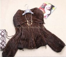 New!!100% Real Knitted Mink Fur Coat/Jacket Outwear Clothing Women in 3 Colour