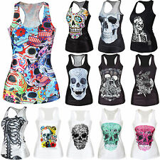 SKULL PRINT Sexy Womens Racerback Top Blouse Bodycon T-shirt Camisole Clubwear