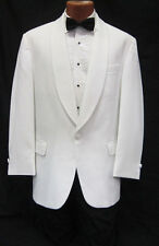 39S White Shawl Tuxedo Dinner Jacket Pants Bow Tie Prom Package Spring Formal
