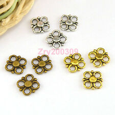 80Pcs Tibetan Silver,Antiqued Gold,Bronze Tiny Flower Charms Connectors M1482
