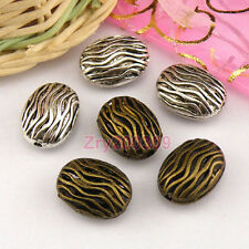 8Pcs Tibetan Silver,Antiqued Gold,Bronze Hollow Filigree Oval Spacer Beads M1363