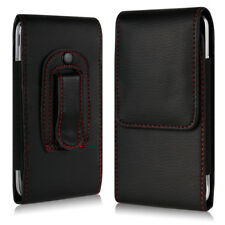 BLACK SOFT PU LEATHER MOBILE PHONE BELT CLIP POUCH CASE COVER HOLDER HOLSTER