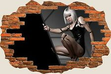 3D Hole in Wall Fantasy Sexy Robot Lady View Wall Stickers Decal Mural 1006