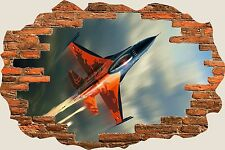 3D Hole in Wall Fighter Jet Plane View Wall Sticker Mural Film Decal Mural S40