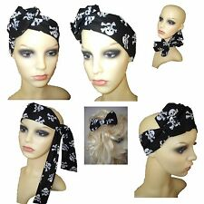 Black White Skull Head Scarf - Skull & Crossbone Hair Bow - Pirate - Rockabilly