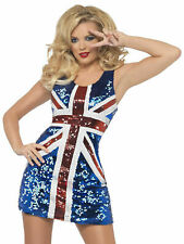 Ladies Fever Rule Britannia Costume Adults Ginger Spice Fancy Dress Union Jack