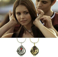 The Vampire Diaries Elena Vervain Antique Silver Locket Vintage Pendant Necklace
