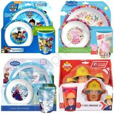 KIDS CHARACTER DINNER CUTLERY 3 PIECE SET CEREAL BOWL, TUMBLER & PLATE FREE P+P
