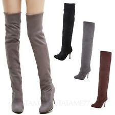 tata Womens Over Knee shoes Slim High Heels Thigh Length suede Boots Size 10-4