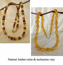 BALTIC HONEY or MULTICOLOR AMBER & SILVER HANDMADE BEAD NECKLACE CHOKER BEADED
