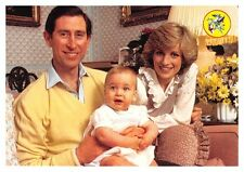 Princess Diana & Prince Charles with Prince William as a baby - 1980's postcard