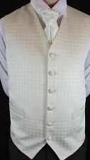 WC110 Mens Ivory Pattern Wedding Suit Waistcoat