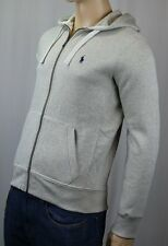 Polo Ralph Lauren Grey Hoodie Zip Sweatshirt Navy Blue Pony NWT