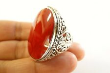 Red Fossil Coral Ornate 925 Sterling Silver Ring Size 6, 6 1/2, 6 3/4
