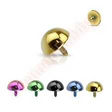 14G Internally Threaded Dermal Anchor Body Jewellery Spare Part Titanium IP Dome