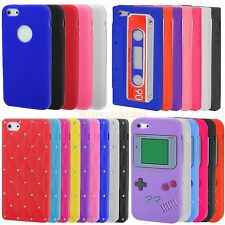 Soft Silicone Rubber Bling Diamond Cassette Round Case Cover For iPhone 5S, 5