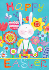 PATCHWORK BUNNY HAPPY EASTER HOUSE OR GARDEN FLAG OR MAGNETIC MAILBOX COVER