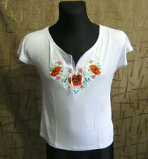Very Nice Embroidered Women Girl Women's T Shirt, white color NICE Poppies on it