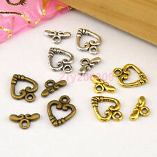 25Sets Tibetan Silver,Antiqued Gold,Bronze Heart Connector Toggle Clasps M1388