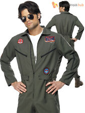 Mens Top Gun Deluxe Pilot Costume Adults Aviator Jumpsuit Fancy Dress + Aviators