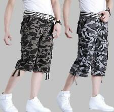 Mens outdoor military camo shorts overalls loose casual pants trousers 30-46