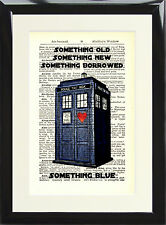 Tardis Dr Who Dictionary Page Art Print Something Blue Doctor Fan Gift Present