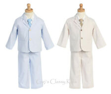 New Toddler Boys Striped Seersucker Cotton Suit 4 Pc Outfit Easter Wedding 3775