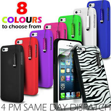 SILICONE SKIN CASE COVER, FILM & MINI STYLUS PEN FOR APPLE IPHONE 5