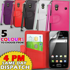 LEATHER WALLET CASE COVER,SCREEN GUARD & STYLUS FOR SAMSUNG GALAXY ACE S5830