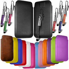 LEATHER PULL TAB SKIN CASE COVER POUCH & STYLUS FOR VARIOUS MOBILEPHONES