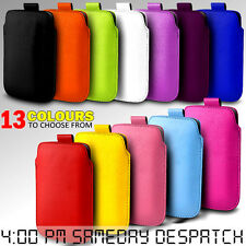 LEATHER PULL TAB SKIN CASE COVER POUCH FOR VARIOUS ALCATEL PHONES