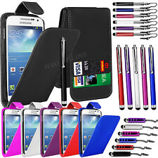 PU LEATHER FLIP CASE COVER, FILM & 3 STYLUS PEN SET FOR SAMSUNG GALAXY S4 MINI