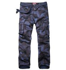 Mens outdoor camo overalls loose cargo straight leg pants trousers multi pockets