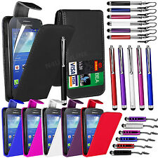 PU LEATHER FLIP CASE COVER, FILM & 3 STYLUS PEN SET FOR SAMSUNG GALAXY ACE 3