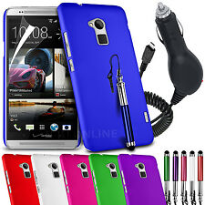 HARD BACK SKIN CASE COVER, LCD FILM, STYLUS PEN & IN CAR CHARGER FOR HTC ONE MAX