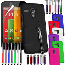 HARD BACK SKIN CASE COVER, LCD FILM & 3 STYLUS PEN SET FOR MOTOROLA MOTO G