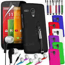 Hard Back Skin Case Cover, Lcd Film, Stylus Pen & Earphone For Motorola Moto G