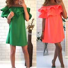 Boho Women Sexy Casual Off Shoulder Ruffle Evening Party Short Mini Dress W3LE