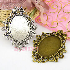 4Pcs Tibetan Silver,Bronze Oval Picture Frame Charm Pendants 46x56mm M1619