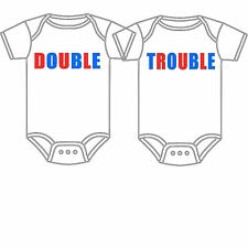 PERSONALIZED CUSTOM-MADE TWINS DOUBLE TROUBLE BABY GERBER ONESIE PERFECT GIFT!
