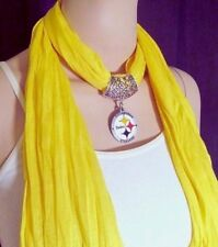 Pittsburgh Steelers Scarf Necklace Pendant Fashion Handmade Yellow USA Accessory