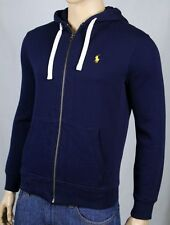 Polo Ralph Lauren Navy Blue Hoodie Full Zip Sweatshirt Yellow Pony NWT