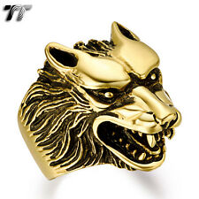 High Quality TTstyle 316L Gold Stainless Steel Wolf Ring Size 7-14 (RZ04J) NEW