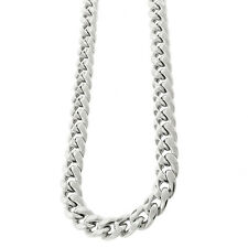 Rhodium-Plated Sterling Silver Hollow Miami Cuban Curb Link 8 mm Necklace Chain