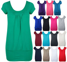 WOMENS CASUAL PLAIN SCOOP NECK RUCHED TOP LADIES SHORT CAP SLEEVE BASIC T-SHIRT