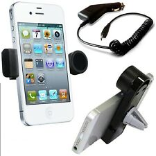 360°ROTATING IN CAR AIR VENT MOUNT HOLDER+CAR CHARGER FOR VARIOUS MOBILE PHONES