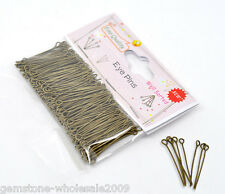 Wholesale Lots Well Sorted Bronze Tone Eye Pins 30x0.7mm(21 gauge)