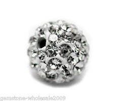 Wholesale Lots Clear Pave Rhinestone Ball Beads 8mm Dia.