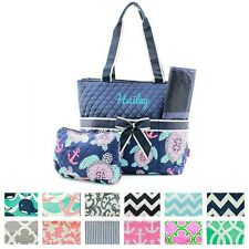 Personalized Monogram Quilted Diaper Bag + Changing Pad Pouch Set Baby Girl Boy