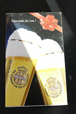 New Vintage WARSTEINER BEER TULIP FLUTE STEM GLASSES (2) GERMANY IN ORIGINAL BOX